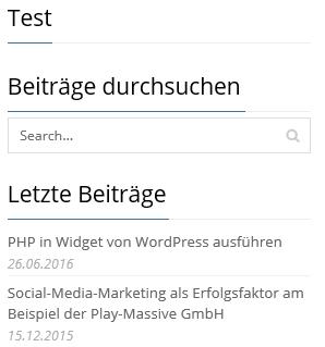 PHP-Code wird in Sidebar nicht angezeigt